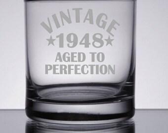70th Birthday Gift, 70th Birthday for Dad, 70th Birthday for Mom, Birthday Gift Ideas, Birthday Drinking Glass, Vintage Birthday Glass