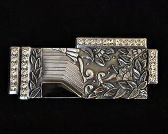 "Vintage Geometric Duri Art Deco Revival Floral Statement Brooch Rhinestone Coat Sweater Pin Silver Tone Retro Costume Jewelry 2.5"""