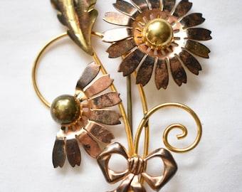 "Vintage Metal Flower Statement Brooch Coat Sweater Pin 1/20 Gold Filled Signed Van Der Straeten (?) Retro Costume Jewelry 3"""