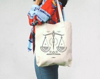 Libra Tote Bag, Libra Canvas Bag, September Gift, October Birthday, Libra Sign, Horoscope Bag, Zodiac Libra, Libra Gift, Libra Tote Bag,