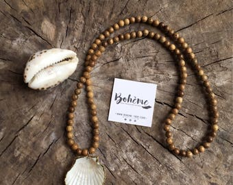 long necklace MOOD wooden pearls pendentive shell gold