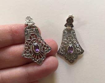 Vintage Elegant Amethyst and Marcasite 925 Sterling Silver Filigree Stud Earrings