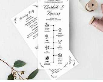 Wedding Timeline Program Template, Order of Events, Ceremony Program, 100% Editable, Printable, Instant Download, Templett, DIY #034-204WP