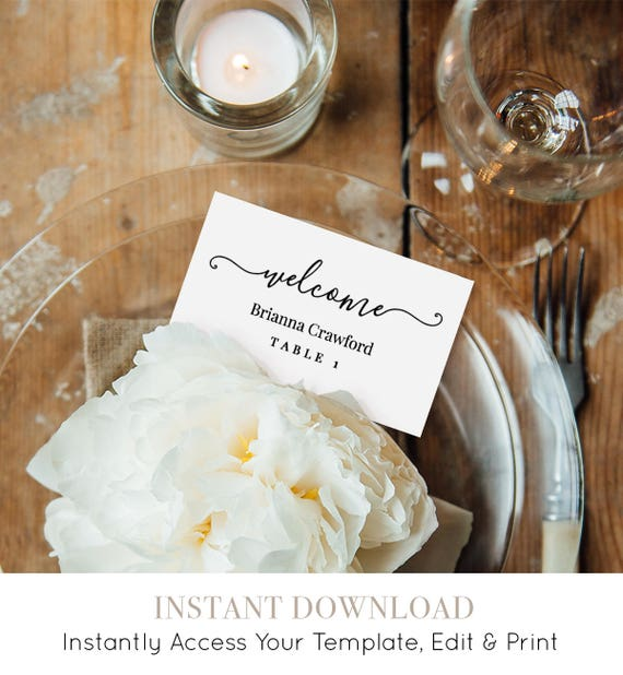 Welcome Place Card Template, Printable Wedding Escort Card, Name Card, Table Number, Instant Download, Editable Template, DIY #030-110PC