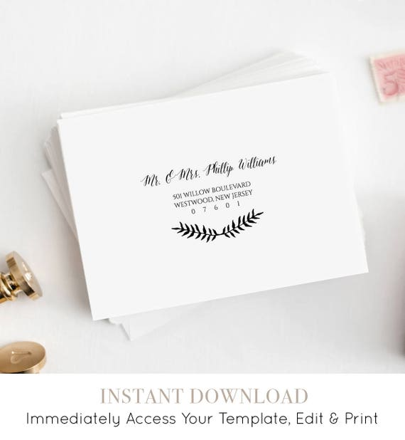 Custom Envelope Template, Printable Wedding Address Template, Calligraphy, Rustic Leaves, Instant Download, 100% Editable, A7, A1 #NC-106EN