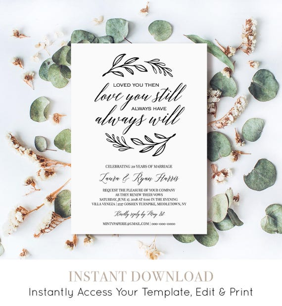 Renew Vows Invitation Template, Printable Wedding Anniversary Invite, Vow Renewal, 100% Editable Template, Instant Download, DIY #NC-107VR