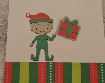 Joy -- elf with present one of a kind home made Christmas Card