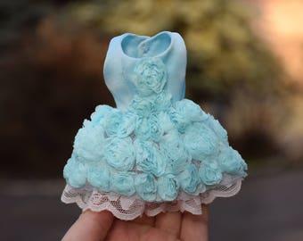 Blythe doll dress Lace dress Blythe clothes Silk dress Light blue Tiffany Color Blythe Chiffon roses lace Blythe outfit summer Elegant dress