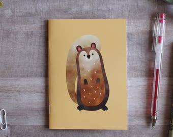 NOTEPAD. A6 Cute Squirrel Notepad. Soft 300 gsm Card Cover. 40 blank pages. Matte lamination pleasant to the touch.