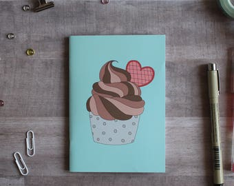NOTEPAD. A6 Cute Cupcake Notepad. Soft 300 gsm Card Cover. 40 blank pages. Matte lamination pleasant to the touch.