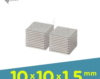 20 Pack - Neodymium Magnets -  10mm x 10mm x 1.5mm Diameter - Craft Magnets Super Strong Skinny Magnets