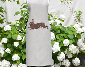 easter gift! Apron, pure linen with rabbit, eco friendly colors, unisizze