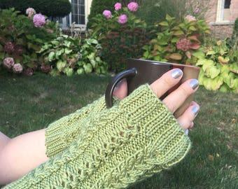 Knit Fingerless Gloves, Knit Wrist Warmers, Fingerless Mittens, Green Knit Fingerless Gloves, Wool Gloves