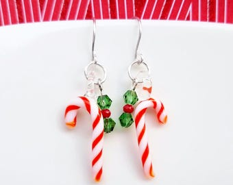Glass Candy Cane Earrings,Peppermint Earrings,Christmas Earrings,Christmas Jewelry,CandyCane Jewelry,holiday gift,Food,Christmas candy