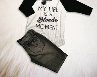 Blonde Shirt Graphic Tee Funny Slogan Shirt Crewneck Tee for Teen Womens Tops TShirt Tumblr Grunge Instagram Clothing Cool Gift Ideas