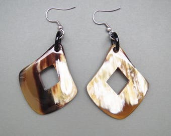 Square earrings, dangle earrings, handcrafted earrings, handmade earrings, artisan jewelry, handmade jewelry, buffalo horn