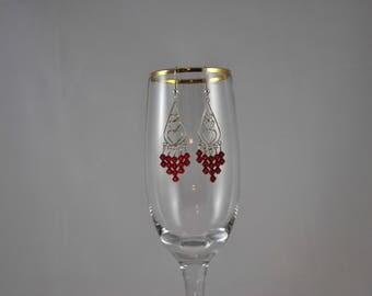 Heart earrings, Red earrings, Romantic earrings, Sterling silver earrings, Swarovski earrings, Dangle earrings