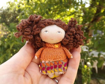 hand made dolls, rag doll, little doll, fabric doll, collectible doll, cloth art doll, OOAK doll, miniature doll, back to school gift
