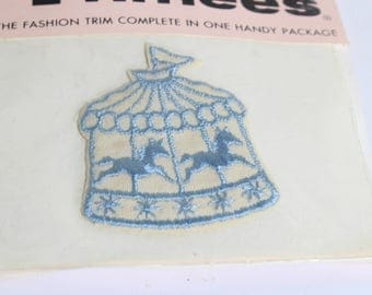 Trimees Unicorns Carousel Blue Trim Patch Washable, Sewing and Craft Supply