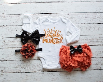 Baby Outfit, Sparkle Monster Bodysuit, Baby Halloween Outfit, Baby Shower Gift, Baby Girl Going Home Outfit,Hospital Outfit, Girl Clothing,