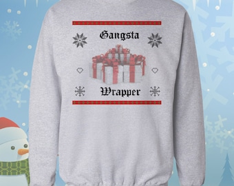 Gangsta Wrapper - Ugly Christmas Sweater - Gangster Rap Parody