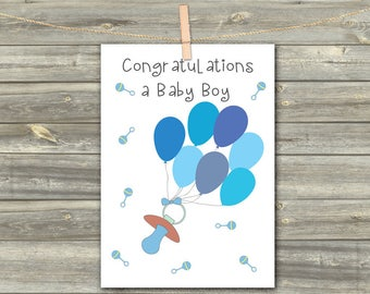 Baby Card Greeting, DIGITAL INSTANT CARD, Printable Download Greeting Card, Cards For Kids, Blue Baby Pacifier Print, Baby Boy Born Card