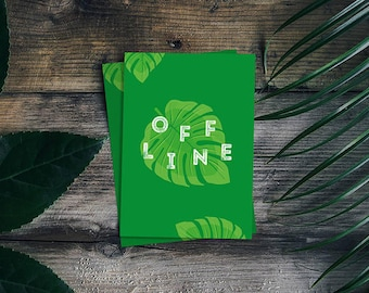 Offline - greeting card, Monstera, minimalist greetings card, contemporary greeting card, graphic design, typographical birthday card