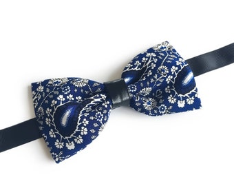 """Blue Paisley Floral Pre Tied Bow Tie """"Bjornson"""", Best Handmade Christmas Gift for Men, Weddings, Birthday, Valentines Day"""