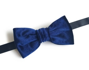 "Blue Velvet Pre Tied Bow Tie ""Lagerlof"", Best Handmade Stylish Gift for Men, Weddings, Birthday, Valentines Day"