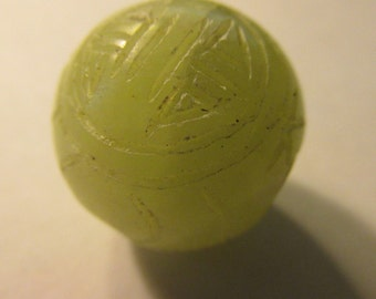 """Carved Chinese Green Water Jade Bead with """"Shou"""" Motif, 20mm"""
