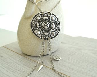 Bohemian large tribal pendant Necklace Jewellery, Medallion Pendant Necklace, Ethnic Tribal Gyspy chain tassel jewelry