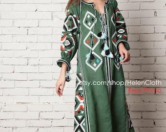 Ukrainian Vyshyvanka Dress, Linen Caftan, Boho Style Linen Maxi Embroidered Dress, Vyshyvanka Mexican Dress. Kaftan, Abaya. Free shipping