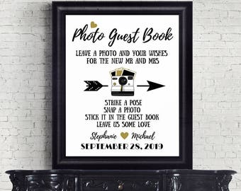 Photo Guest Book Sign, Black And Gold, Printable Wedding Sign, Photo Booth Sign, Alternative Wedding Guest Book Sign  SKU CWS306_3722C