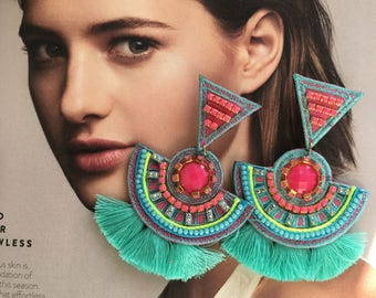 Holiday Gift, Big Earrings, Statement Earrings, Tassel Earrings, Gift for Her,Colorful Earrings,Multicolor Earrings,Threader Earring,Jewelry