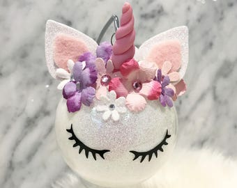 UNICORN ORNAMENT, Unicorn Ornament Felt Ball, Flower Crown, Holiday Tree Decoration, Baby's First Cute Girly Decoration, Whimsical Christmas
