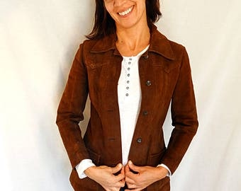 Brown Suede Jacket 70s Leather Jacket Bohemian Brown Coat Boho Hippie Fitted 1970s Vintage Hipster Extra Small xs