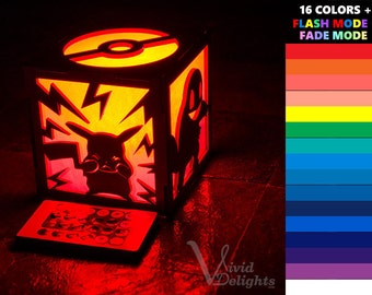 Pokemon Inspired ( Pikachu charmander bulbasaur Squirtle pokeball ) ColorChanging LED Lantern
