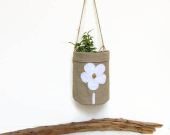 Cache-pot en lin et corde à suspendre à l'esprit champêtre - Décoration champêtre en lin par Pleasant Home