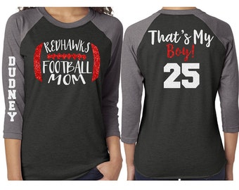 Glitter  Mom Football  Baseball Shirt|3/4 Sleeve Raglan |Customize with your Team & Colors