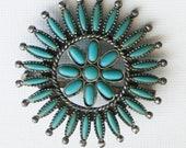 Vintage Turquoise Sunburst Flower Brooch, Sancrest Simulated Southwestern Zuni Style Costume Jewelry