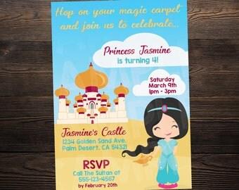 Aladdin / Jasmine Princess Birthday Invite // Custom Birthday Invitation //  5x7 // High Resolution Digital Download JPEG & PDF