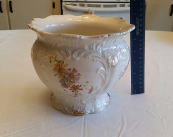 antique porcelain ceramic planter / bowl with embossed designs 1890 - 1910 era - floral pattern & gold gilt trim  dish vase victorian ornate