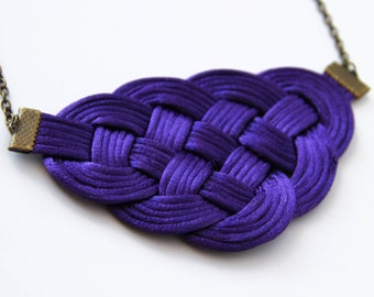 Purple knot satin rope statement necklace
