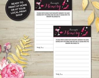 Favourite Memory Game, Hens Party, Bridal Shower, Bachelorette, Printable Games, Digital Download, Pink and Black, Wedding Shower