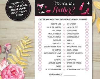 Would She Rather? Game, Bridal Shower, Bachelorette, Printable Games, Digital Download, Pink/Black, Burlesque, Wedding Shower