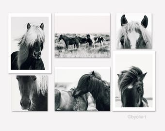 Horses gallery wall. Printable horses. Horse poster. Horses photography. Black horse. Instant download