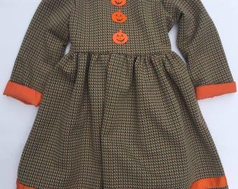 SALE Vintage Halloween Pumpkin Dress/Fall Dress/Size 2T/Brown Gingham Dress