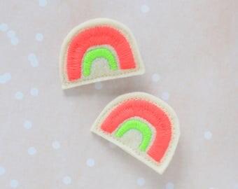 Rainbow Hair Clip Set / Rainbow Barrette / Felt Hair Clip / Neon Colors / Girl's Accessories