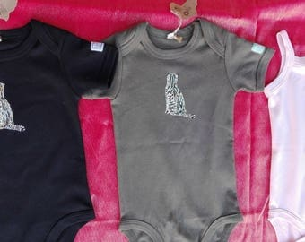 Onesie painted by hand, unique, organic cotton
