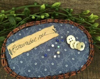 Blue Calico Pin Cushion in Basket Buttons Sewing Pins Label Cottage Farmhouse Primitive Style Pin Keep Needle Keep